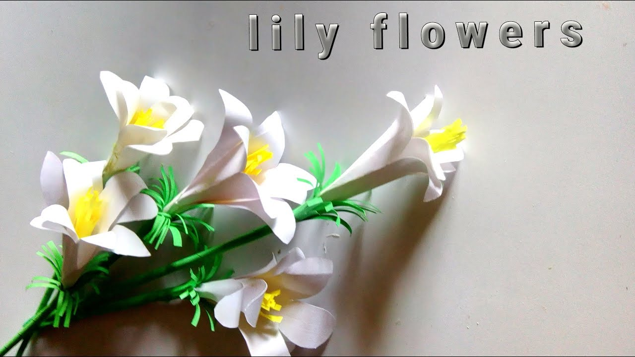 How To Make White Paper Lily Flowers White Paper Lily Flowers Paper Crafts Lily Flowers