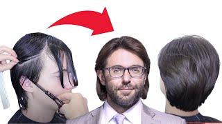 Мужская СТРИЖКА НОЖНИЦАМИ на густые жесткие волосы Ева Лорман