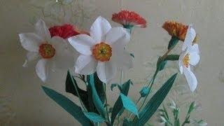 1) Цветы из ткани своими руками.  Нарциссы в вазу на стебле (1  часть )