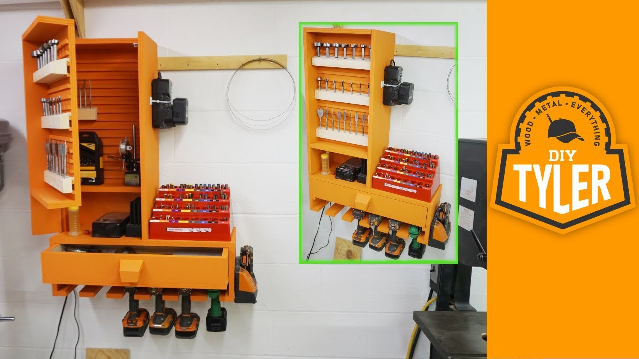 garage woodshop ideas - French Cleat Drills Bits Charging Station