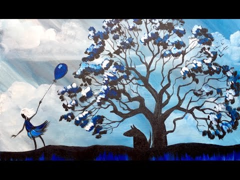 How to paint  Stormy Sky and mighty OAK Tree Acrylic Painting on Canvas for Beginners