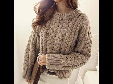 Женские свитера спицами с аранами