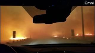 Invånare flyr skogsbranden i Kalifornien