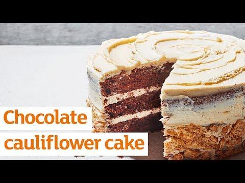 Chocolate cauliflower cake with tahini frosting