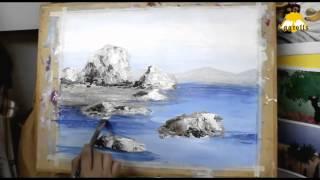 東老師油畫教學示範 第04堂 -- 海灘礁石
