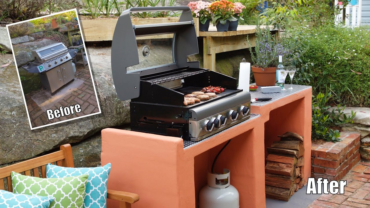 Kitchen No Cabinets Bbq Area Makeover How To Build A Block Bbq Youtube