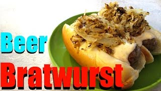 Beer Bratwurst - With Sauerkraut And Stadium Cheese Sauce - Poormansgourmet
