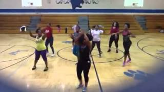 """all night long zumba warm-up with Shi HALES  and crew"