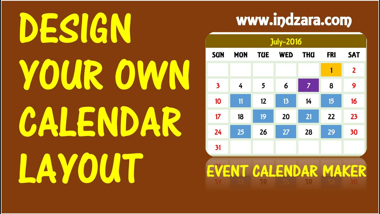 Event calendar maker excel template design your own for Create my own calendar template
