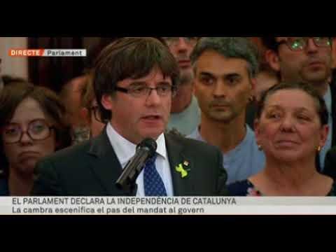 O primeiro discurso de Puigdemont após declarar a independencia