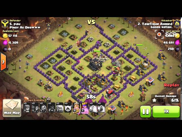 GOWIHOG Attack at th9 in COC(Clash Of Clans)