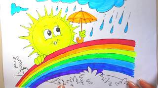 rainbow coloring images | rainbow images for kids