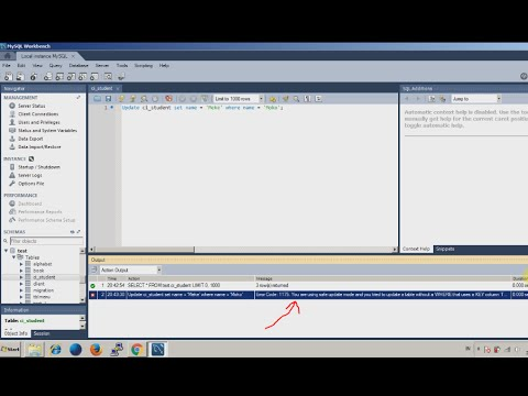 Mysql workbench problem - Error Code 1175 When update query