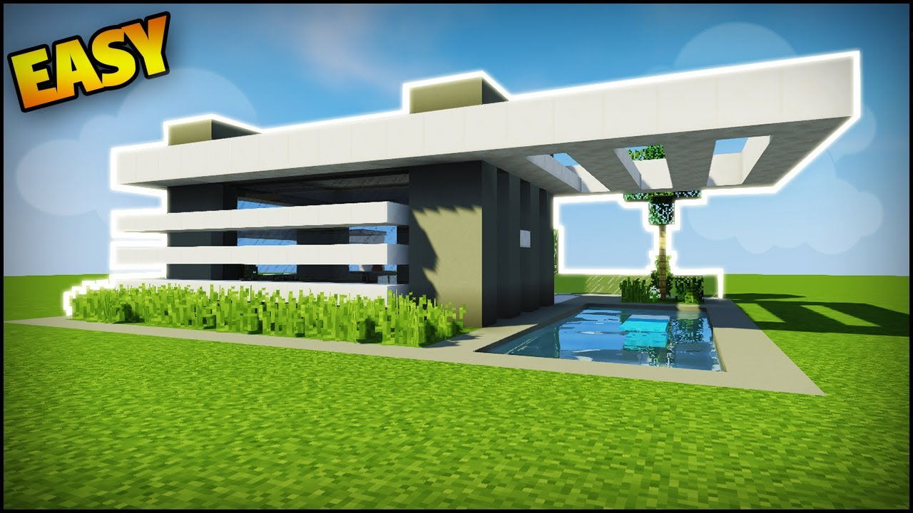 Minecraft how to build a modern house 2 easy tutorial how to build a house in minecraft - Simple modern house minecraft ...