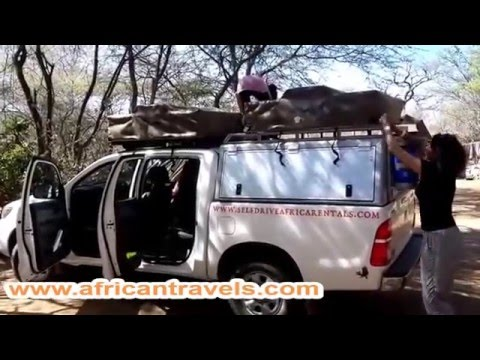 4x4 Roof Top Tent demonstration in Africa by African Travels