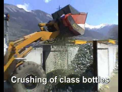 Дробление бутылочного стекла - погрузчик
