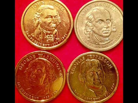 2007 Presidential Dollar Coins- Washington, Adams, Jefferson & Madison