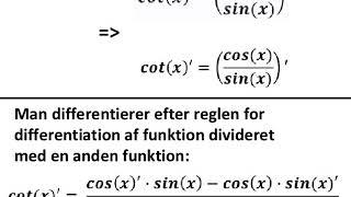 cotangens og dens differentialkvotient