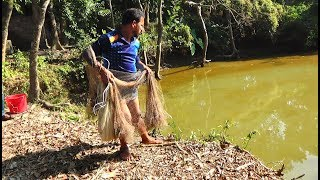 Net Fishing | Catching Lot Of Fish With Cast Net | Net Fishing in the village (Part-105)
