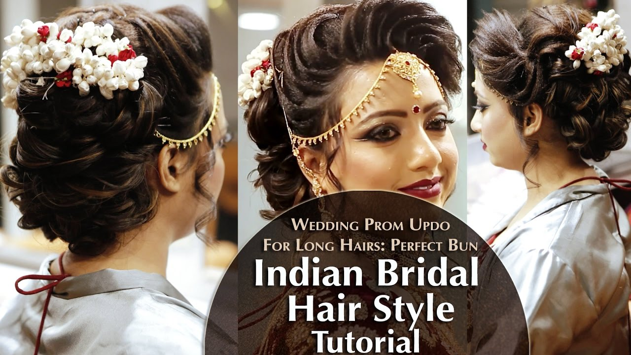 Indian Bridal Hair Style Perfect Long Hair Bun Tutorial Krushhh By K Indian Bridal Hairstyles Hair Bun Tutorial Bun Hairstyles For Long Hair