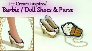 Barbie / Doll Ice Cream Shoes & Purse - Tutorial