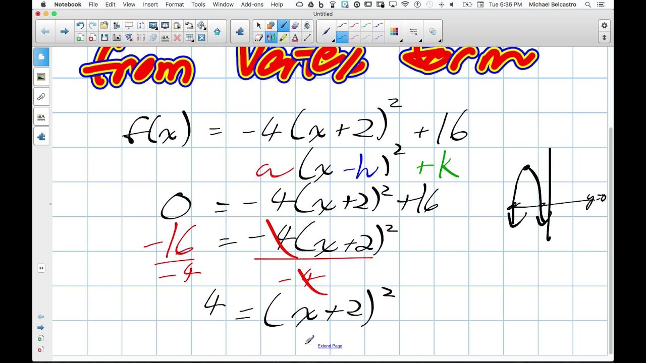 Finding X Intercepts of Quadratics from Vertex Form Grade 11 Mixed ...