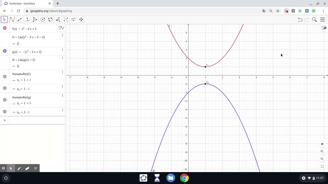 Geogebra - Grafanalys/CAS - Komplexa rötter med algebraisk metod