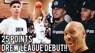 6'8 LaMelo Ball FULL-25 Point Drew League DEBUT! Better Than Lonzo!?!?