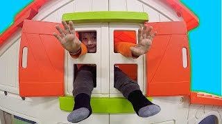 Fun Play Area with Playhouse & Trampoline Jumping | Timko playing football