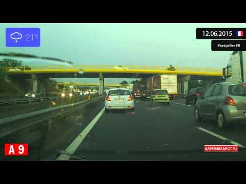 Driving through Côte d'Azur (France) from Montpellier to Arles 12.06.2015 Timelapse x4