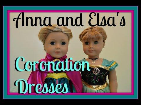 American Girl Doll Disney Frozen Elsa And Anna Coronation Dresses! HD Please