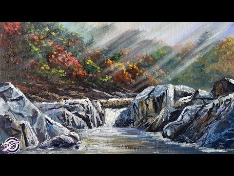 Acrylic Landscape Painting | Sunrays | Colorful Hills | Huge Rocks | River Painting | Art Candy