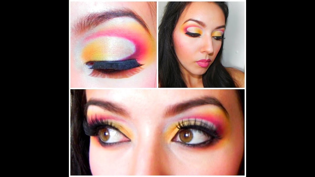 Maquillaje intenso artistico rojo naranja blanco - Amarillo naranja ...