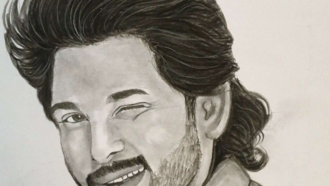 Allu Arjun Pencil Drawing Ala Vaikuntapuramulo Movie Youtube