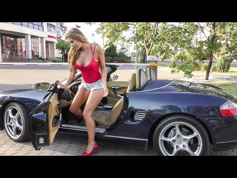 Sexy Young Model Enjoys Porsche Ride in Minsk, Belarus