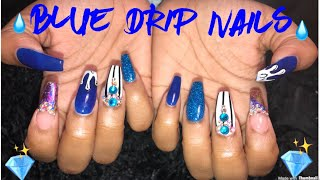 Blue Drip Nails   Acrylic Nails Tutorial