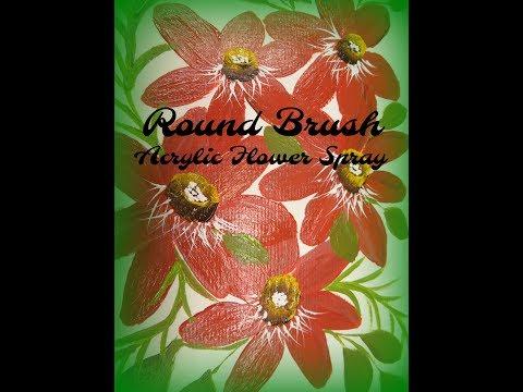 Round Brush Acrylic Flower Spray #24 | Flower Painting Tutorial | Aressa | 2019