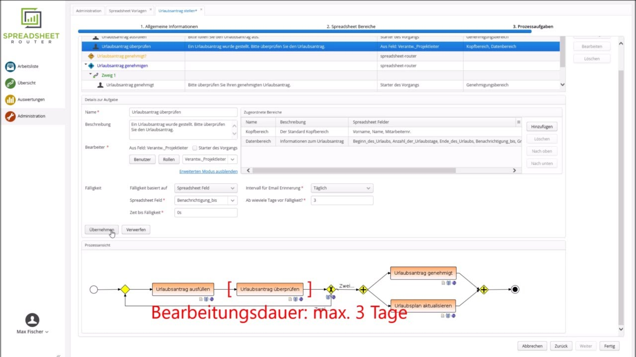 Youtube Video: Spreadsheet Router Tutorial: Fälligkeit aus Spreadsheet auslesen