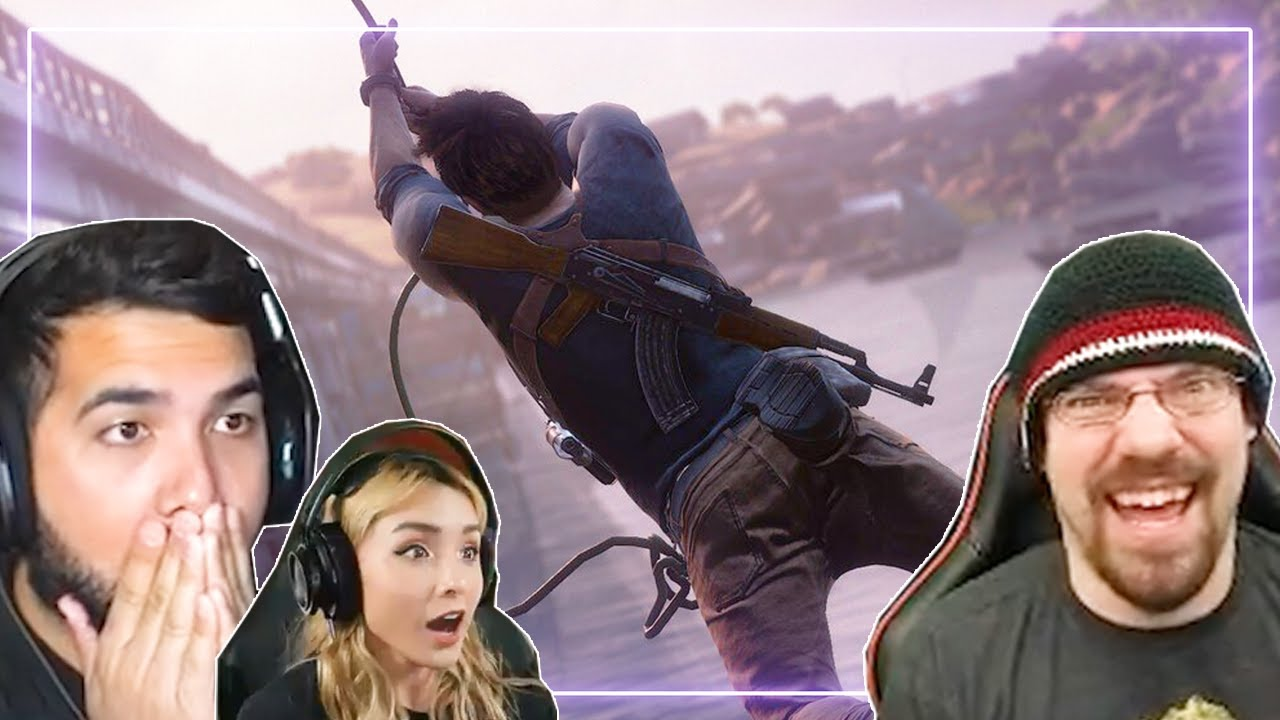 Gamers REACT to Uncharted 4: A Thief's End - Best Chase In Gaming History! | Gamers React