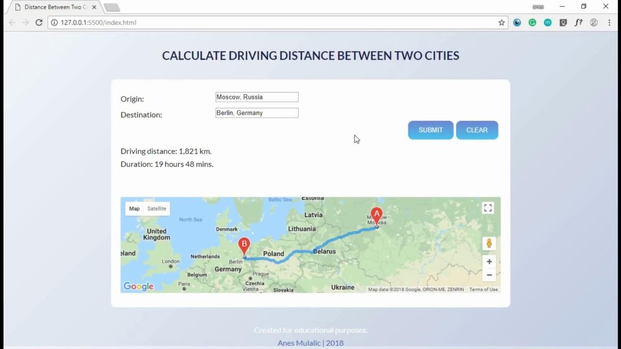 Distance Calculator Google Maps Distance Matrix Api