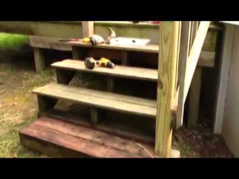 stair moving project on the above ground pool deck - Above Ground Pool Steps Diy