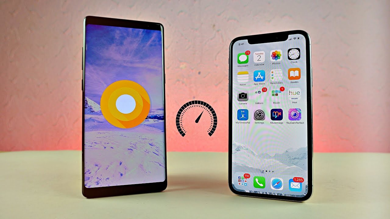 Samsung Galaxy Note 8 Android 8 0 Oreo vs iPhone X - Speed Test!
