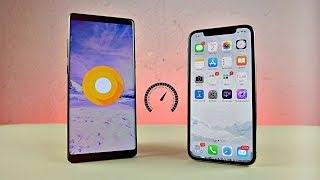 Samsung Galaxy Note 8 Android 8.0 Oreo vs iPhone X - Speed Test!