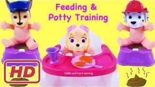 Paw Patrol Babies Skye Chase Marshall Potty Training Feeding Tea Party Pretend Play Fun Video[BB]