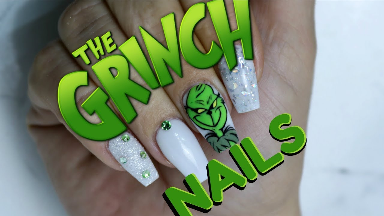 The Grinch Nails Easy Hand Painted Tutorial Step By