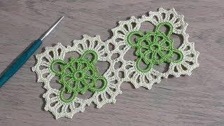 Kare Dantel Motifi Yapımı, Tığişi örgü renkli iplerle motif yapımı, Crochet