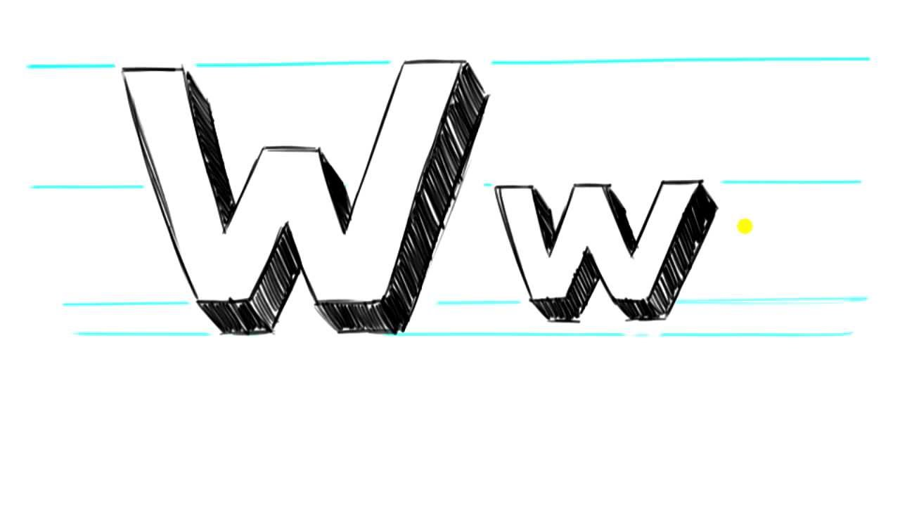 How To Draw 3d Letters W Uppercase W And Lowercase W In 90 Seconds