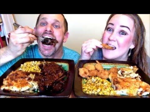 MUKBANG | SHRIMP & BEEF COOKED DINNER | STORYTIME