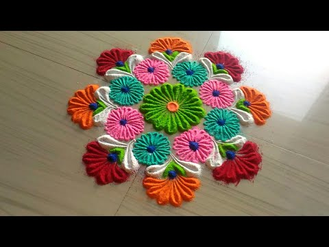 How to make rangoli design||awesome rangoli |creative rangoli |kolam rangoli |muggu rangoli by jyoti