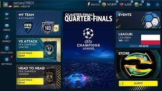 FIFA MOBILE 19 QUARTER FINALS CHAMPIONS LEAGUE ODBIERAM ZAWODNIKA 95 OVR